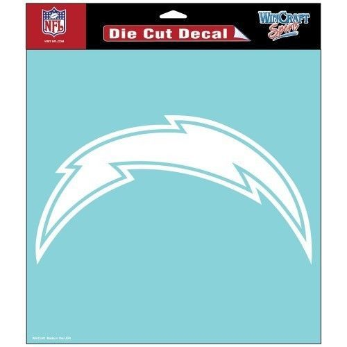 "SAN DIEGO CHARGERS 8"" X 8"" CLEAR FILM DIE CUT DECAL WHITE LOGO NFL FOOTBALL #1"