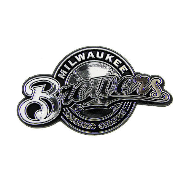 MILWAUKEE BREWERS CAR AUTO 3-D CHROME SILVER TEAM LOGO EMBLEM MLB BASEBALL