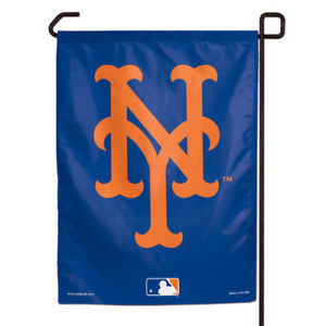 "NEW YORK METS TEAM GARDEN WALL FLAG BANNER 11"" X 15"" MLB BASEBALL"