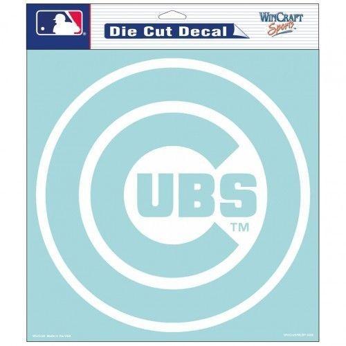 """CHICAGO CUBS 8"""" X 8"""" CLEAR FILM WHITE LOGO DIE CUT DECAL MLB BASEBALL"""