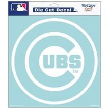 """CHICAGO CUBS 8"""" X 8"""" CLEAR FILM WHITE LOGO DIE CUT DECAL MLB BASEBALL - $10.84"""