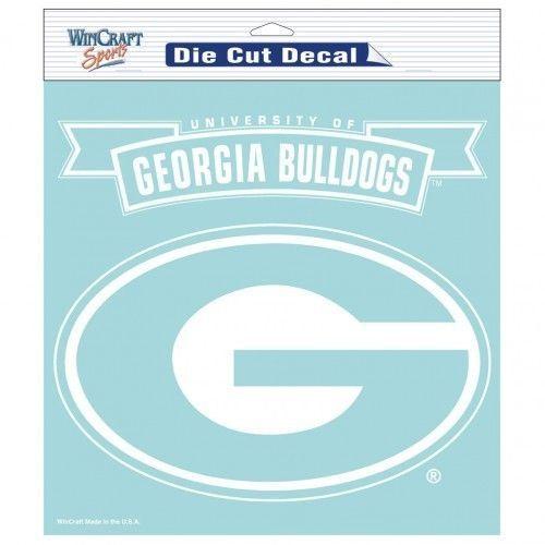 """GEORGIA BULLDOGS 8"""" X 8"""" CLEAR FILM DIE CUT DECAL WHITE LOGO NCAA #1"""