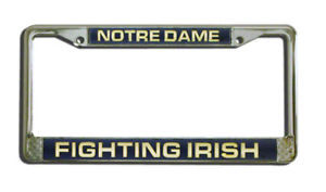 NOTRE DAME IRISH CAR LASER MIRROR CHROME LICENSE FRAME