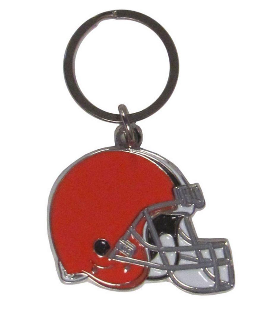 CLEVELAND BROWNS CHROME METAL CUT TEAM LOGO CAR AUTO KEYCHAIN NFL FOOTBALL