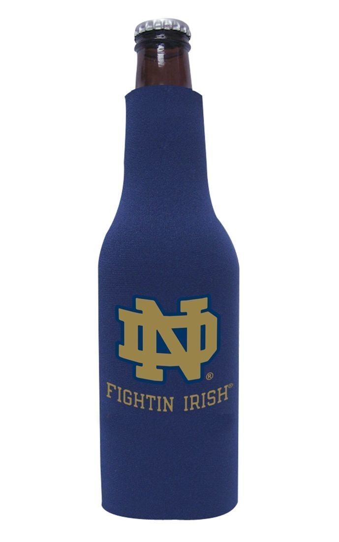 NOTRE DAME FIGHTIN' IRISH BEER SODA WATER BOTTLE ZIPPER KOOZIE COOLIE HOLDER