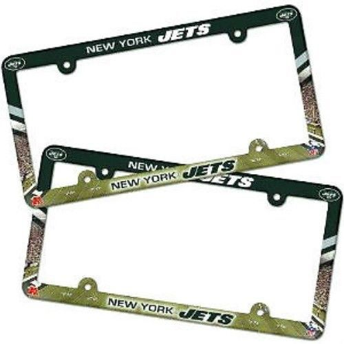 2 NEW YORK JETS COLOR CAR PLASTIC LICENSE PLATE TAG FRAME NFL FOOTBALL