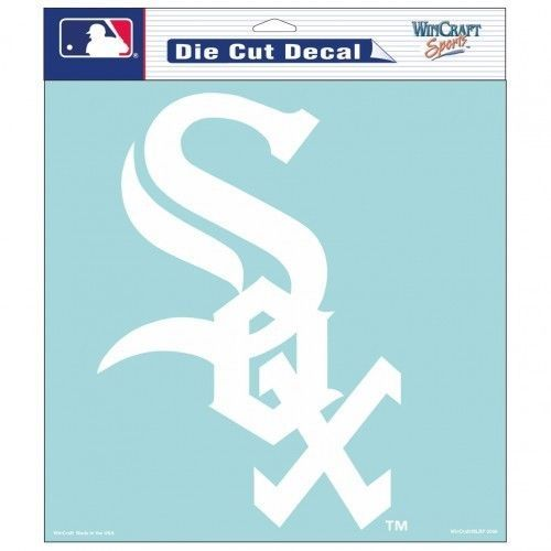 "CHICAGO WHITE SOX 8"" X 8"" CLEAR FILM WHITE LOGO DIE CUT DECAL MLB BASEBALL"