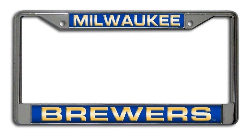 MILWAUKEE BREWERS LASER MIRROR CHROME METAL LICENSE PLATE TAG FRAME MLB BASEBALL