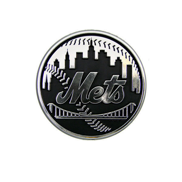 NEW YORK METS CAR AUTO 3-D CHROME SILVER TEAM LOGO EMBLEM MLB BASEBALL