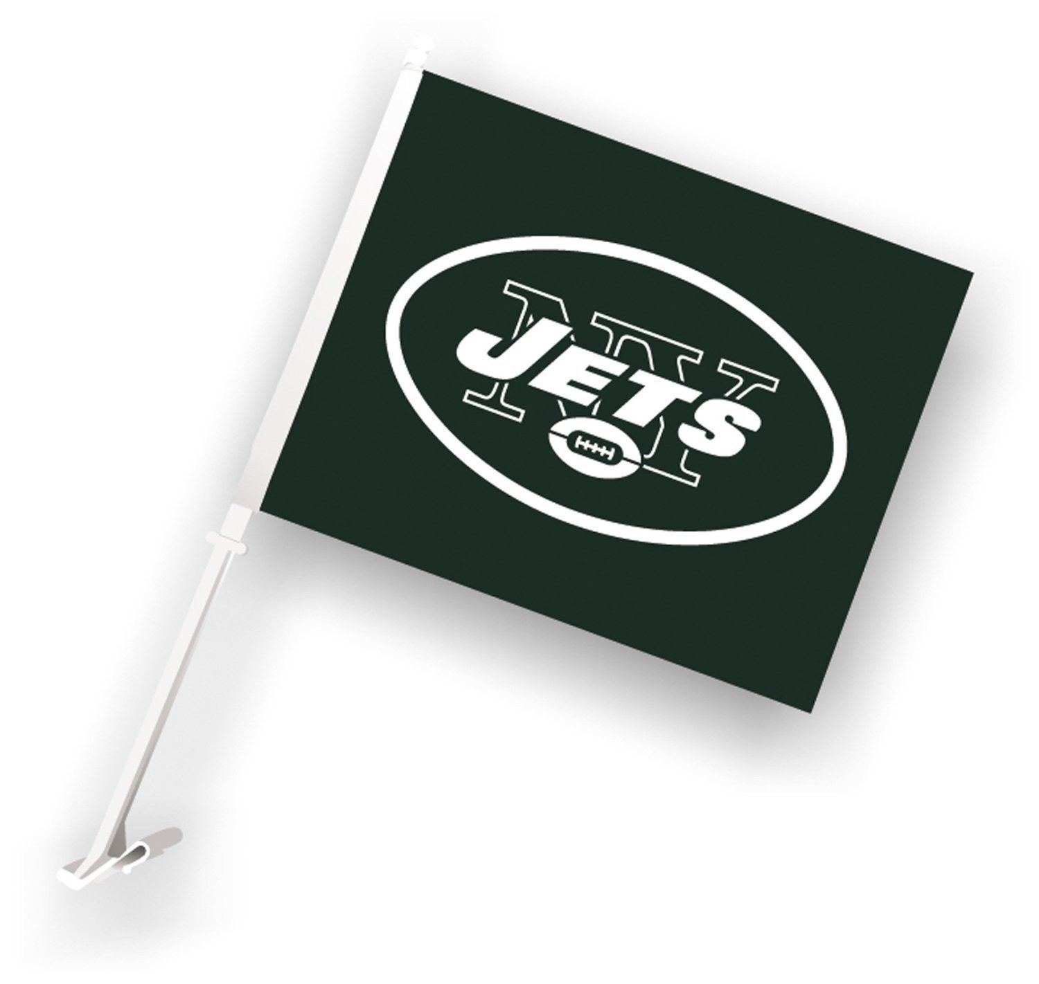 NEW YORK JETS CAR AUTO FLAG BANNER & POLE 2 SIDED NFL FOOTBALL