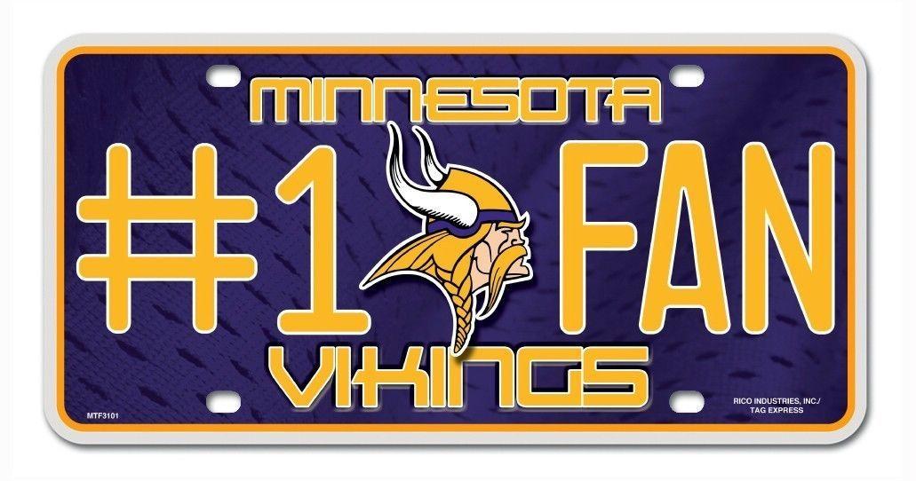 MINNESOTA VIKINGS #1 FAN CAR AUTO METAL LICENSE PLATE TAG NFL FOOTBALL
