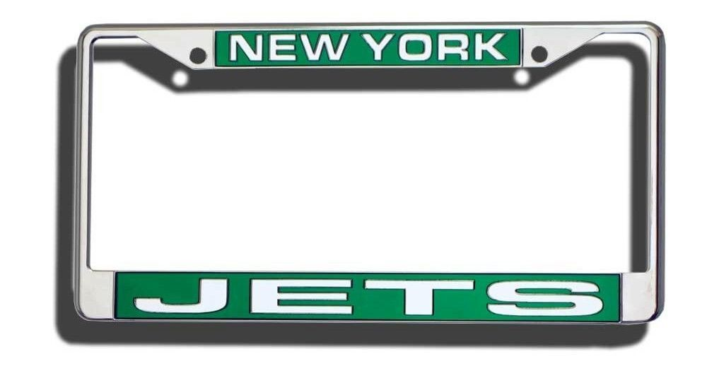 NEW YORK JETS CAR LASER-CUT CHROME LICENSE PLATE FRAME NFL FOOTBALL