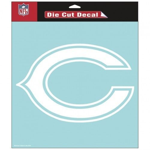 "CHICAGO BEARS 8""X 8"" CLEAR FILM DECAL WHITE LOGO NFL FOOTBALL #1"