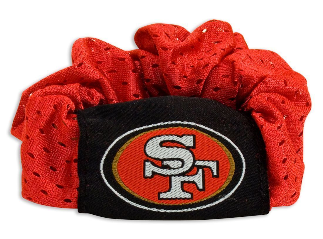 SAN FRANCISCO 49ERS SCRUNCHIE HAIR TWIST PONYTAIL HOLDER TEAM LOGO NFL FOOTBALL