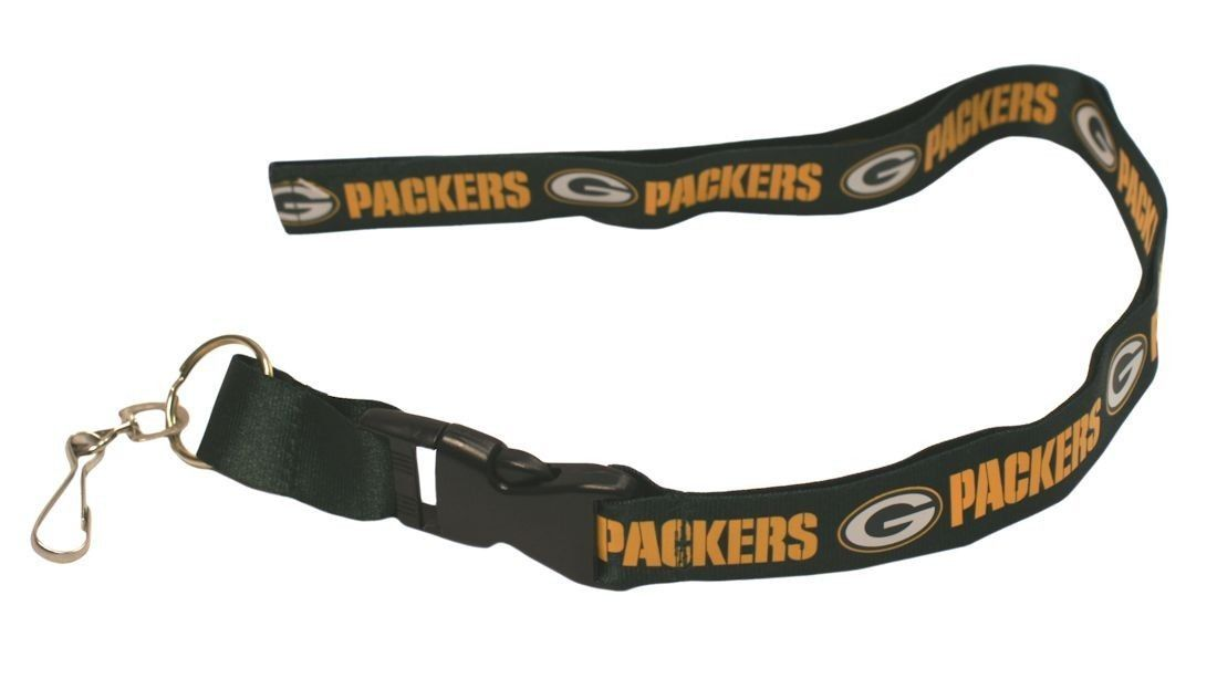 2 GREEN BAY PACKERS LANYARD KEYCHAIN TICKET HOLDER SILVER NFL FOOTBALL