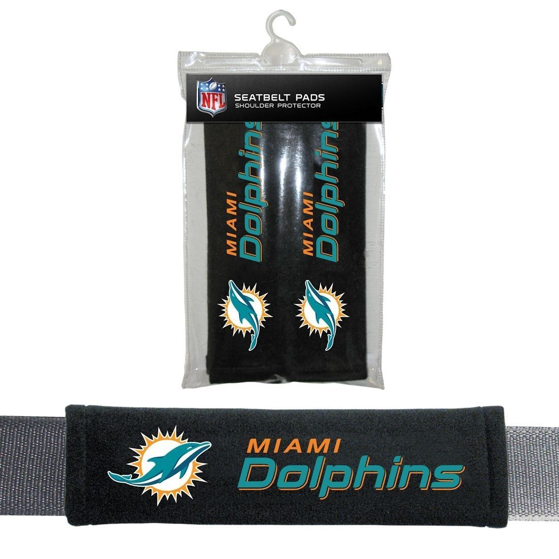 MIAMI DOLPHINS 2 VELOUR SEAT BELT LAPTOP GYM BAG SHOULDER PADS NFL FOOTBALL