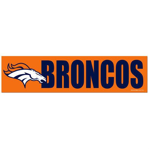 """2 DENVER BRONCOS CAR BUMPER STICKER DECAL 3"""" X 12"""" STRIP NFL FOOTBALL"""