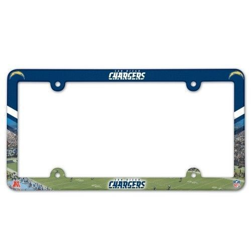 2 SAN DIEGO CHARGERS COLOR CAR AUTO PLASTIC LICENSE PLATE TAG FRAME NFL FOOTBALL