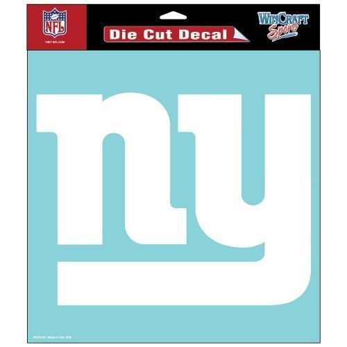 "NEW YORK GIANTS 8"" X 8"" CLEAR FILM DIE CUT DECAL WHITE LOGO NFL FOOTBALL"
