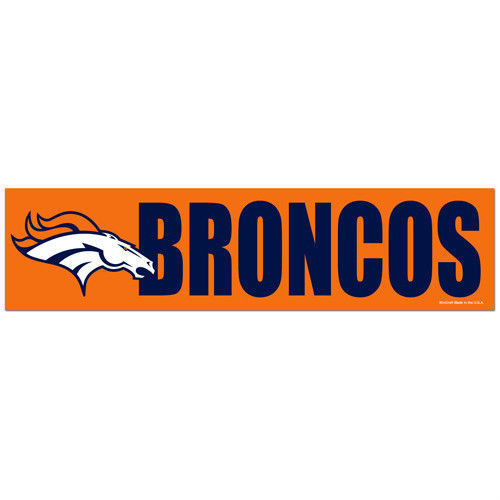 "DENVER BRONCOS CAR BUMPER STICKER DECAL 3"" X 12"" STRIP NFL FOOTBALL"