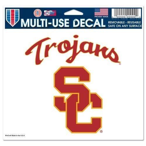 "2 USC SOUTHERN CAL TROJANS ULTRA DECAL TEAM LOGO 5""X6"" CLEAR WINDOW FILM"