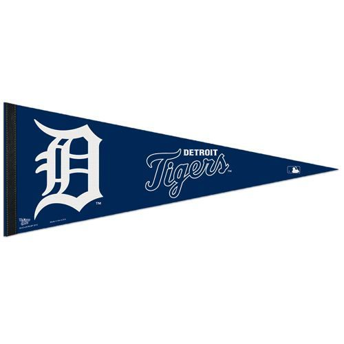 "2 BIG DETROIT TIGERS TEAM FELT PENNANT 12""X30"" MLB BASEBALL SHIPS FLAT"