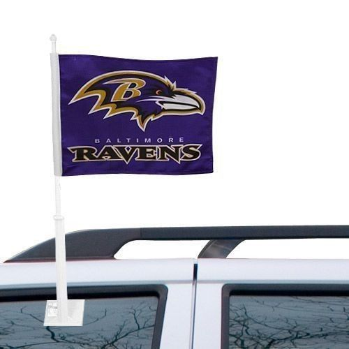 BALTIMORE RAVENS CAR AUTO FLAG BANNER & POLE 2 SIDED NFL FOOTBALL