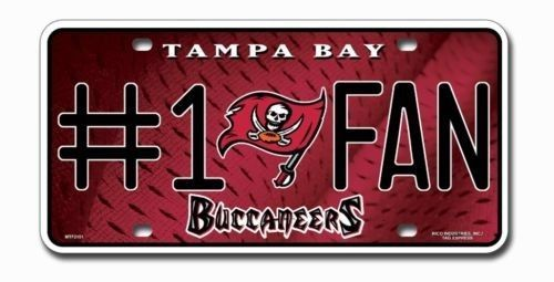 TAMPA BAY BUCS BUCCANEERS #1 FAN CAR AUTO METAL LICENSE PLATE TAG NFL FOOTBALL