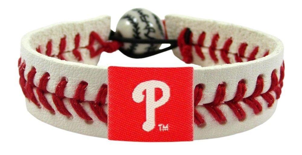 PHILADELPHIA PHILLIES CLASSIC LEATHER LACES BRACELET MLB BASEBALL