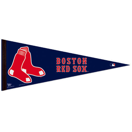 "2 BIG BOSTON RED SOX TEAM FELT PENNANT 12""X30"" MLB BASEBALL SHIPS FLAT"