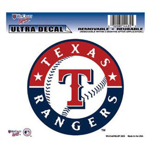 "TEXAS RANGERS MLB BASEBALL ULTRA DECAL TEAM LOGO 5""X6"" CLEAR WINDOW FILM"