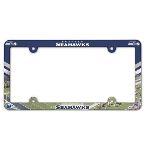 2 SEATTLE SEAHAWKS COLOR CAR AUTO PLASTIC LICENSE PLATE TAG FRAME NFL FOOTBALL