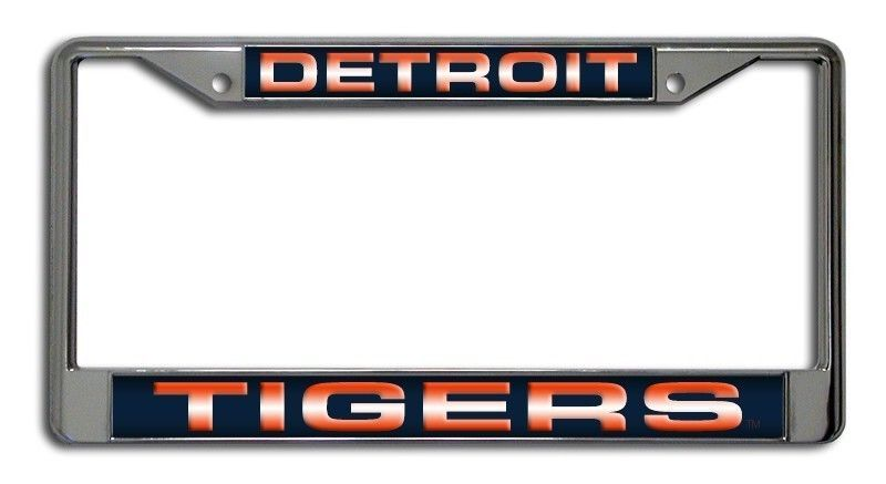 DETROIT TIGERS LASER MIRROR CHROME METAL LICENSE PLATE TAG FRAME MLB BASEBALL