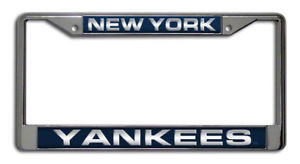 NEW YORK YANKEES CAR LASER MIRROR CHROME LICENSE FRAME