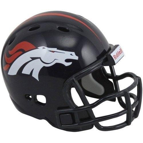 """2 DENVER BRONCOS POCKET PRO HELMET 2"""" SIZE  Made By RIDDELL! NFL FOOTBALL"""
