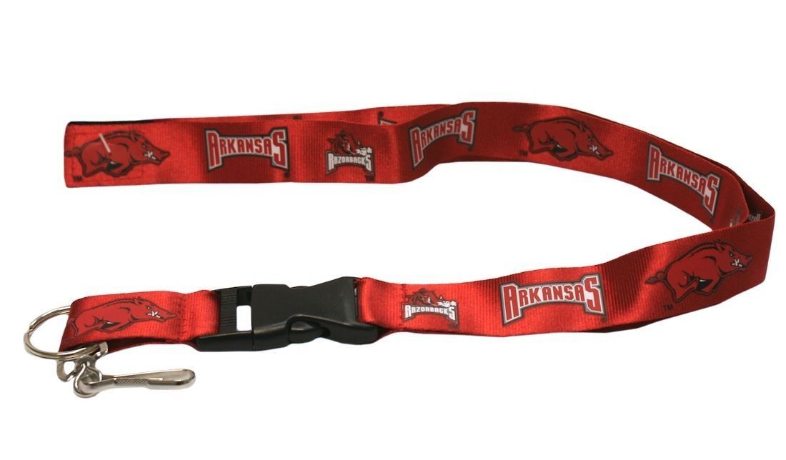 2 ARKANSAS RAZORBACKS LANYARD KEYCHAIN TICKET HOLDER