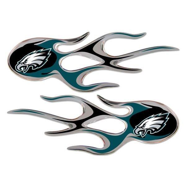 PHILADELPHIA EAGLES MICRO FLAMES CAR AUTO 3-D CHROME EMBLEM 2 PACK NFL FOOTBALL