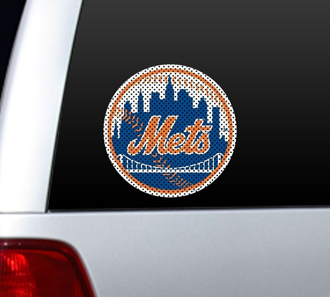 "*BIG* 12"" NEW YORK METS CAR HOUSE PERFORATED WINDOW FILM DECAL MLB BASEBALL"