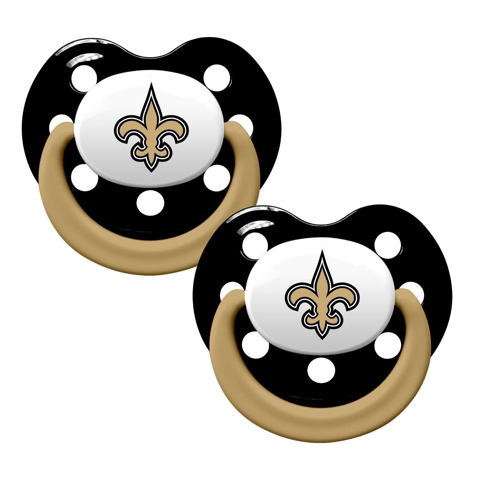 NEW ORLEANS SAINTS 2-PACK BABY INFANT PACIFIERS ORTHODONTIC NFL FOOTBALL