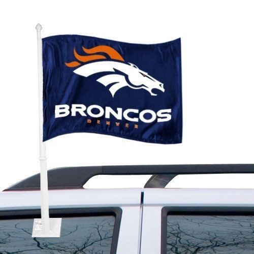 DENVER BRONCOS CAR AUTO FLAG BANNER & POLE 2 SIDED NFL FOOTBALL
