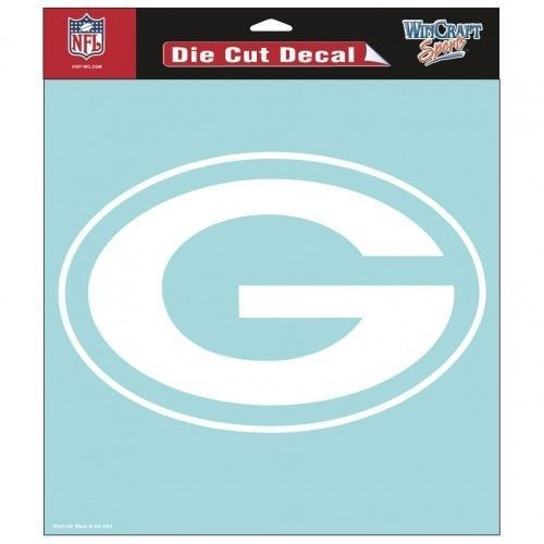 "GREEN BAY PACKERS 8"" X 8"" CLEAR FILM DIE CUT DECAL WHITE LOGO NFL FOOTBALL #1"