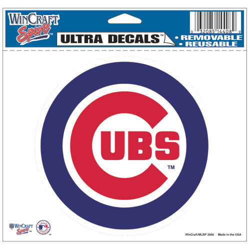 "CHICAGO CUBS MLB BASEBALL ULTRA DECAL TEAM LOGO 5""X6"" CLEAR WINDOW FILM"