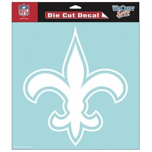 "NEW ORLEANS SAINTS 8""X8"" CLEAR FILM DECAL WHITE LOGO NFL FOOTBALL #1"