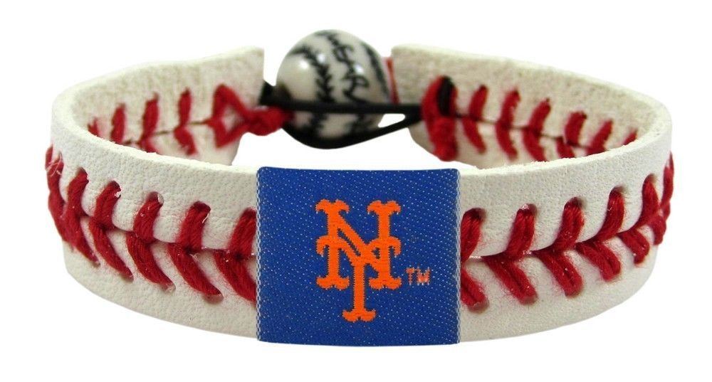 NEW YORK METS CLASSIC LEATHER LACES BRACELET MLB BASEBALL