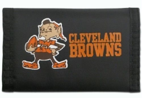 CLEVELAND BROWNS TEAM LOGO NYLON TRIFOLD WALLET NFL FOOTBALL