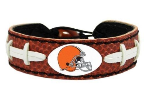 CLEVELAND BROWNS CLASSIC LEATHER LACES NFL FOOTBALL BRACELET
