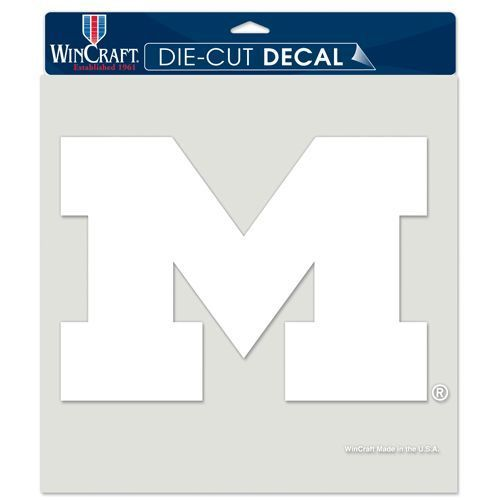"MICHIGAN WOLVERINES 8""X8"" CLEAR FILM DECAL WHITE LOGO"