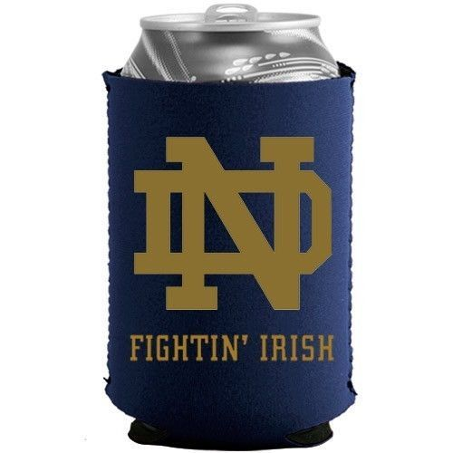 2 NOTRE DAME FIGHTIN' IRISH BEER SODA WATER CAN BOTTLE KOOZIE KADDY HOLDER