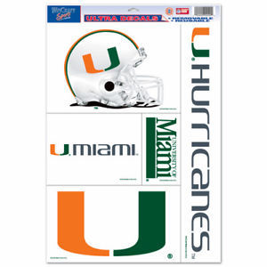 "MIAMI HURRICANES ULTRA FILM DECALS BEAN BAG TOSS, CAR, SHEET of 5 SIZE 11"" X 17"""