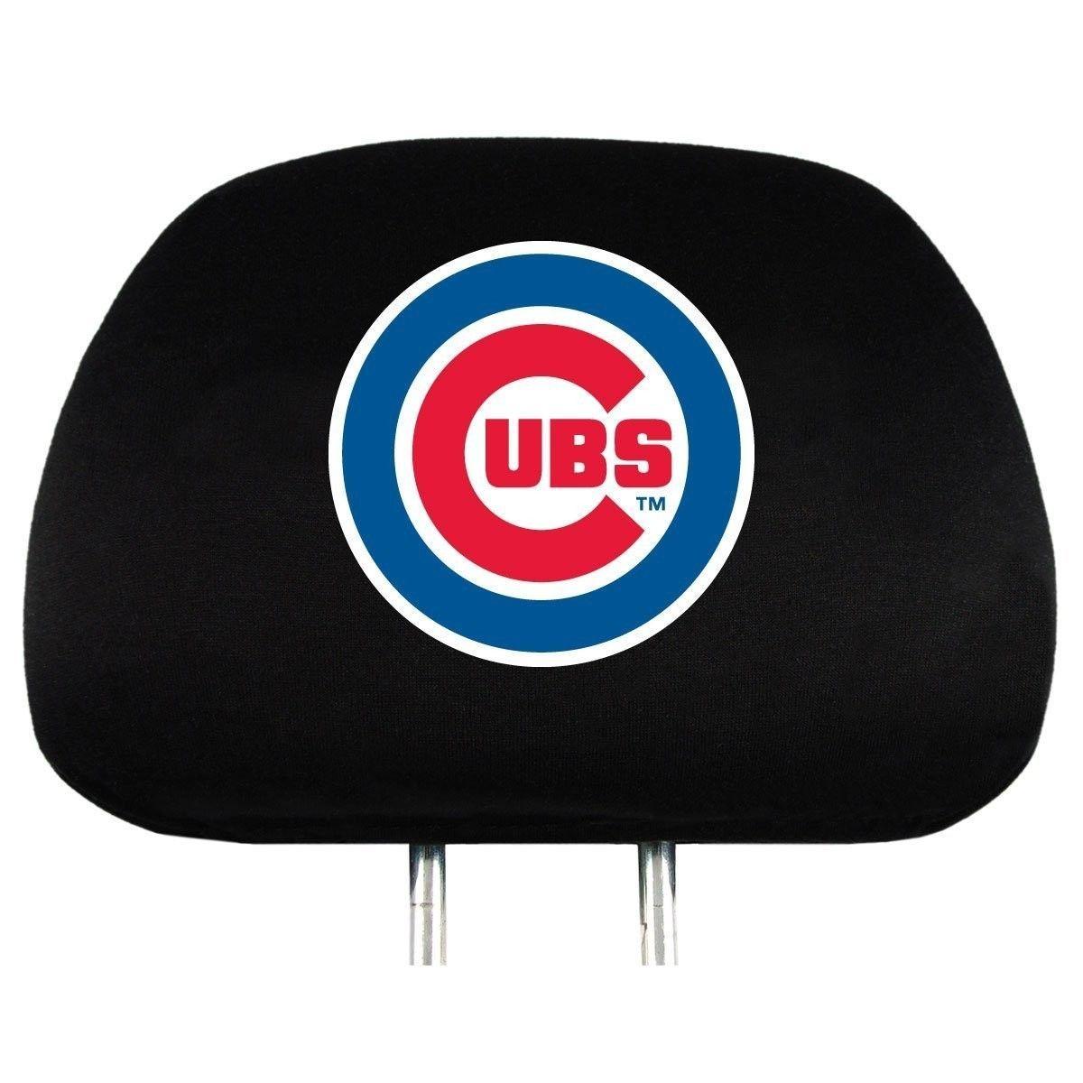 CHICAGO CUBS CAR AUTO 2 TEAM HEADREST COVERS MLB BASEBALL